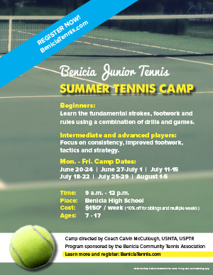 Image of Benicia Junior Tennis Summer Camp flyer