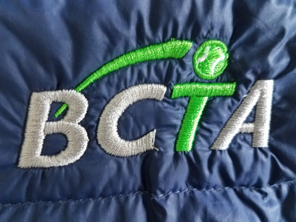 Image of detail of BCTA logo embroidery.