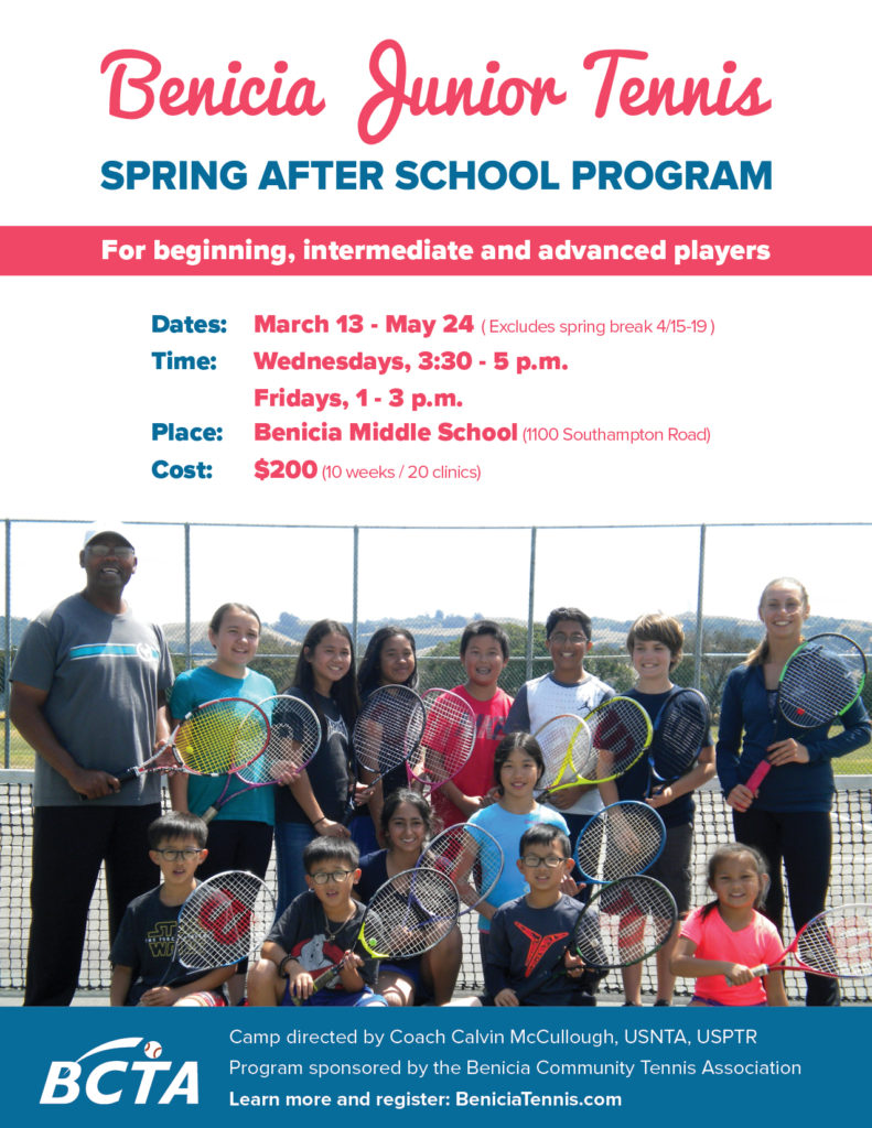 Image of Spring After School Tennis program flyer.