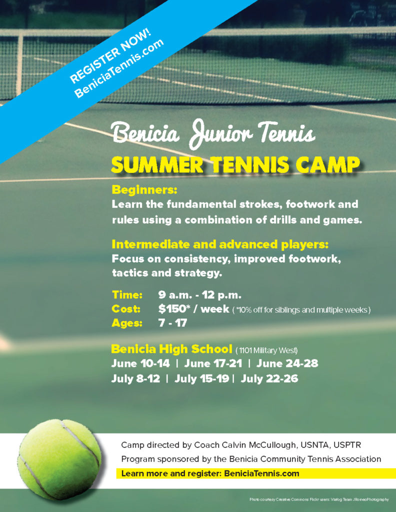 image of summer tennis camp flyer.