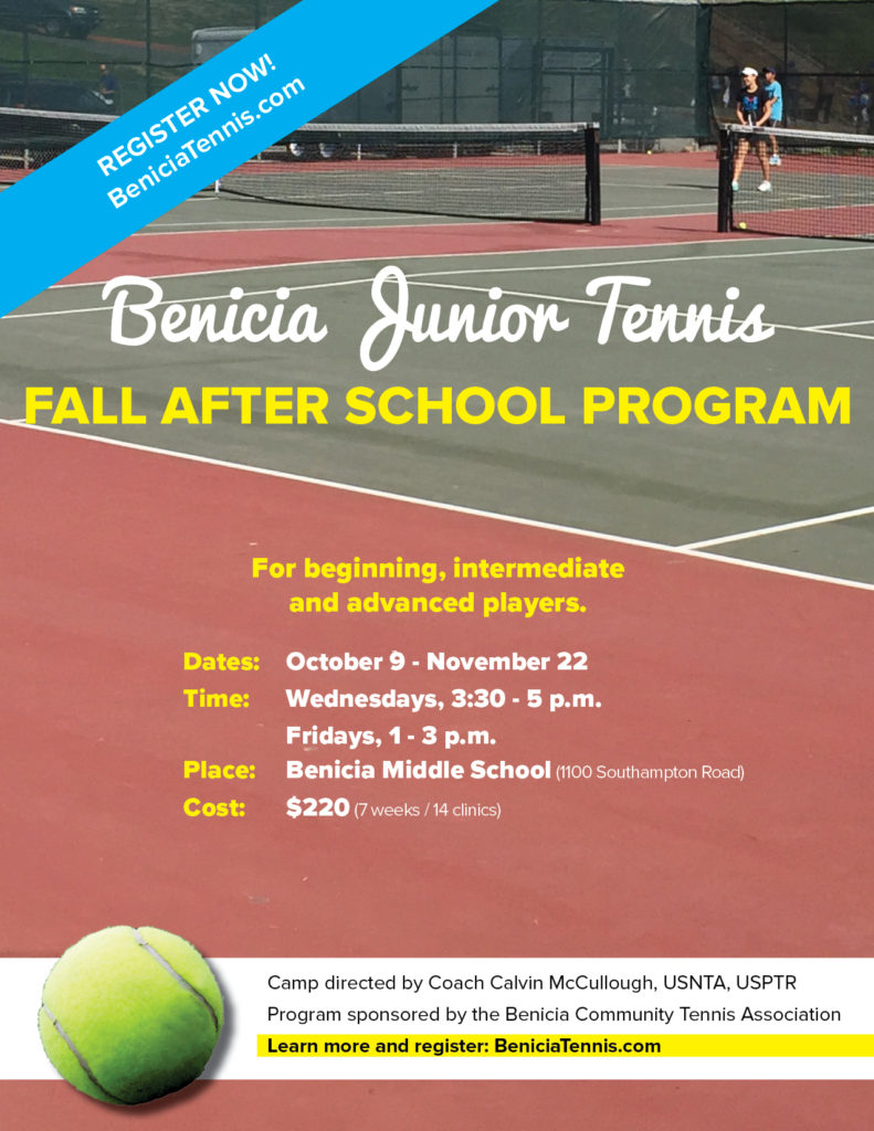 Image of Fall 2019 After School Tennis Program flyer.